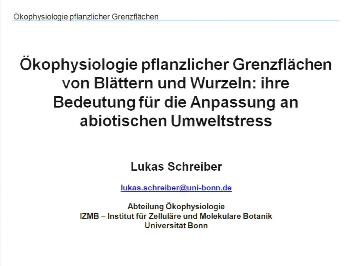 Ökophysiologie pflanzlicher Grenzflächen von Blättern und Wurzeln: ihre Bedeutung für die Anpassung an abiotischen Umweltstress